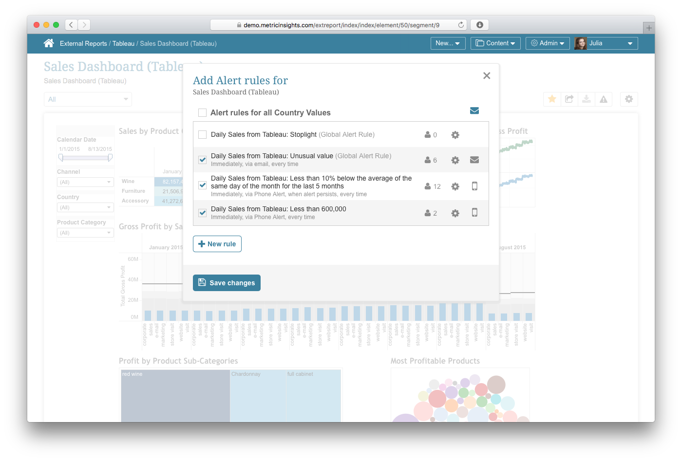 Push Intelligence for Tableau - Metric Insights